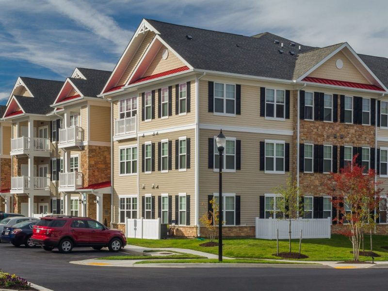 This image shows an aerial view of the TGM Creekside Apartment. It's a new community that boasts a beautiful setting and a well- established neighborhood. It also offers 24-hour emergency maintenance. It features the side view and 9-foot ceilings.